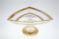 Фруктовница на ножке Bohemia Max Crystal Золото Филиция 30см
