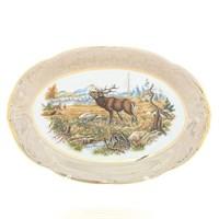 Блюдо овальное Sterne porcelan Охота Бежевая 33 см