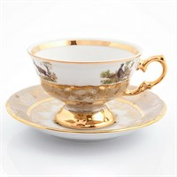 Набор чайных пар Sterne porcelan Охота Бежевая 220 мл(6 пар)
