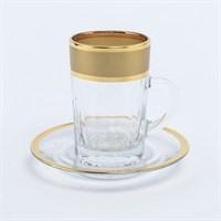 Набор чайных пар золото Bohemia Матовая полоса 170мл