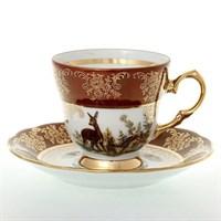 Набор кофейных пар Queen's Crown Охота красная 140мл (6 пар)