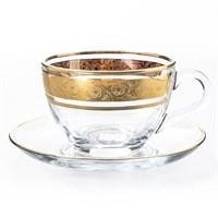 Набор чайных пар Crystalex Bohemia Клаудиа Золото V-D 220 мл(6 пар)