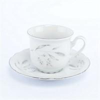 Набор кофейных пар Thun Констанция Серебряные колосья 150 мл (6 пар)
