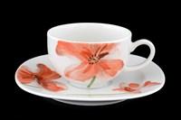 Набор чайных пар 220 мл Леон Красные маки (6 пар)
