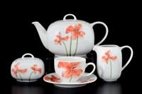 Чайный сервиз на 6 персон 17 предметов Леон Красные маки