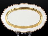 Блюдо овальное Thun Мария Луиза золотая лента Ivory 24 см