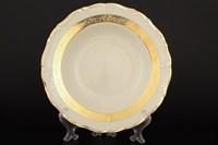 Набор глубоких тарелок Thun Мария Луиза золотая лента Ivory 23см (6 шт)