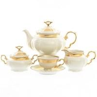 Чайный сервиз Thun Мария Луиза золотая лента Ivory 6 персон 17 предметов