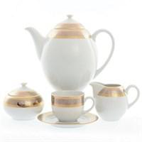 Кофейный сервиз Thun Опал широкий кант платина золото 6 персон 17 предметов