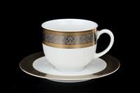 Набор кофейных пар Thun Опал широкий кант платина золото 160 мл(6 пар)