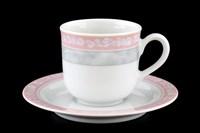 Набор мокко кофейных пар 85 мл Яна Серый мрамор с розовым кантом (6 пар)