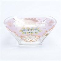 Фруктовница розовая Bohemia Uhlir 26 см