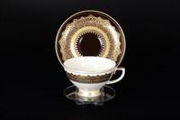 Набор чайных пар Falkenporzellan Agadir Brown Gold 220мл(6 пар)
