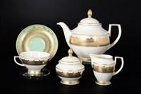 Чайный сервиз Falkenporzellan Agadir Seladon Gold 6 персон 17 предметов