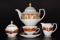 Чайный сервиз Falkenporzellan Alena 3D Bordeaux Gold Constanza 6 персон 17 предметов