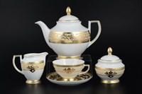 Чайный сервиз на 6 персон Falkenporzellan Alena 3D Creme Gold Constanza 17 предметов