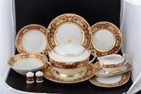 Столовый сервиз на 6 персон 27 предметов Falkenporzellan Donna bordeaux gold