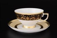 Набор чайных пар Falkenporzellan Harmony Crem Black 220 мл (6 пар)