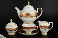 Чайный сервиз Falkenporzellan Natalia bordeaux gold 6 персон 17 предметов