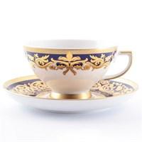 Набор чайных пар Falkenporzellan Natalia cobalt gold 220мл(6 пар)