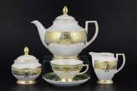 Чайный сервиз на 6 персон Falkenporzellan Natalia seladon gold 17 предметов