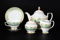 Чайный сервиз Falkenporzellan Valencia Seladon Gold 6 персон 17 предметов