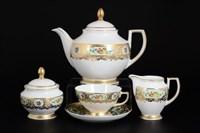 Чайный сервиз Falkenporzellan Vienna Seladon Gold 6 персон 15 предметов