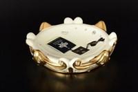 Конфетница Ceramiche Stella бежевая с кристаллами Сваровски d-24,5 h-7 см