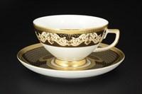 Набор чайных пар Falkenporzellan Belvedere Combi Black Gold 220мл(6 пар)