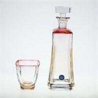 Набор стаканов лля воды Bohemia Gold Arezzo 7 предметов красная