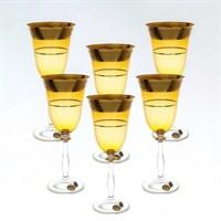 Набор бокалов для вина Star Crystal Смальта Анжела Янтарный 250мл (6 шт)