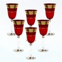 Набор бокалов для вина Star Crystal Смальта Анжела Красный 250мл (6 шт)