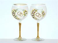 Свадебный набор из 2-х бокалов для вина 570 мл Белая лепка E-S