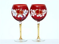 Свадебный набор из 2-х бокалов 570 мл золотая ножка Лепка красная E-S