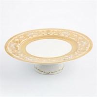Тарелка для торта на ножке Falkenporzellan Alena 3D Creme Gold Constanza 32 см