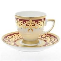 Набор кофейных пар Falkenporzellan Natalia bordeaux gold 100мл (6 шт)