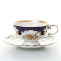 Набор чайных пар Leander Соната Золотая роза кобальт 200 мл (6 пар)