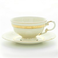 Набор чайных пар Leander Соната Золотая лента Слоновая кость 200 мл (6 пар)
