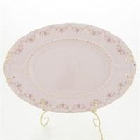 Блюдо овальное Leander Соната мелкие цветы розовый фарфор 32 см