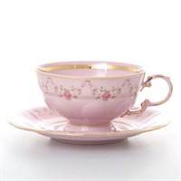 Набор чайных пар Leander  Соната мелкие цветы розовый фарфор 200 мл(6 пар)