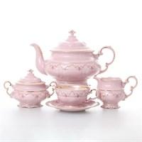 Чайный сервиз на 6 персон 17 предметов Соната Мелкие цветы Розовый фарфор
