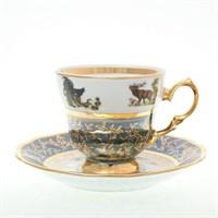 Набор кофейнных пар Sterne porcelan Охота Зеленая 140 мл(6 пар)