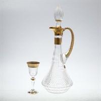 Набор для ликера Bohemia Max Crystal 7 предметов хрусталь с золотом (Графин 1,2л, Рюмки 60мл)