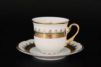 Набор кофейных пар Thun Констанция Изумруд Золотой орнамент 150 мл (6 пар)