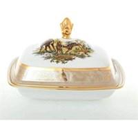 Масленка Sterne porcelan Охота Бежевая 16*13,5*11 см