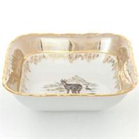 Салатник квадратный Sterne porcelan Охота Бежевая 16 см