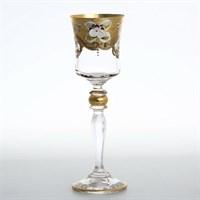 Набор рюмок для водки Bohemia Лепка прозрачная золотая ножка