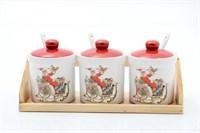 Набор банок для сыпучих продуктов с ложками на подставке Royal Classics 250мл