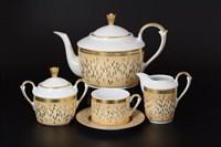 Чайный сервиз на 6 персон 17 предметов Falkenporzellan Constanza Rialto Creme Gold