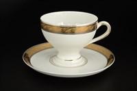 Набор чайных пар 220 мл Кристина Платиновая золотая лента (6 пар)